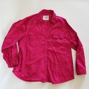 Sonoma Button Down Blouse Shirt Women's 1X Pink